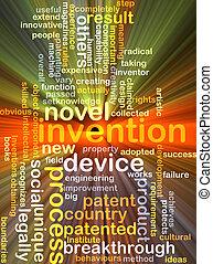 invenção, fundo, conceito, glowing