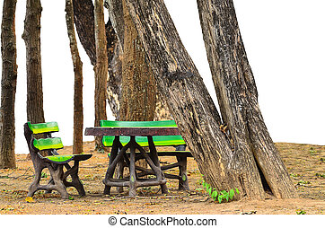 invention bench at pubic park on white background
