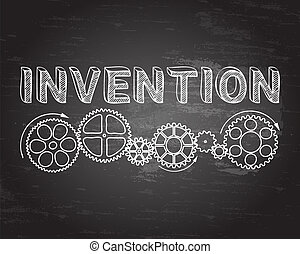 Invention Blackboard - Invention text with gear wheels hand...