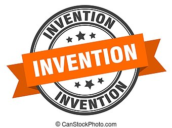 invention label sign. round stamp. band. ribbon - invention ...