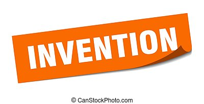 invention sticker. square isolated label sign. peeler - ...