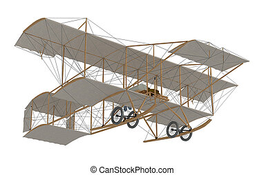 inventor first airplane isolated on white. 3d rendering