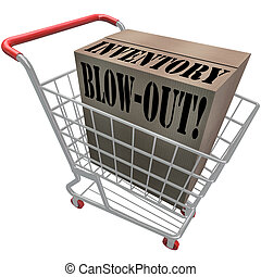 Inventory Blowout Words Cardboard Box Shopping Cart Blow-Out...