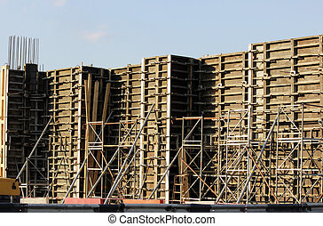inventory formwork for reinforced concrete  the construction of the bridge supports on the transport interchange