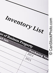 Inventory List - A inventory list close up