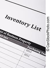 Inventory List - A inventory list close up