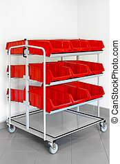 Inventory trolley - Inventory cart with plastic red boxes...