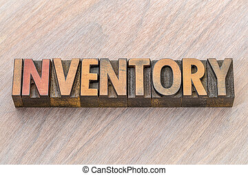 inventory word abstract in wood type
