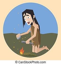 invenzione, fuoco, illustrazione, cartone animato