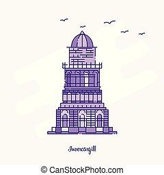 INVERCARGILL Landmark Purple Dotted Line skyline vector illustration