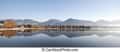 invermere, lago, debajo, montañas rocosas, columbia...