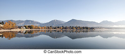Invermere Lake under Rocky Mountains, British Columbia,...