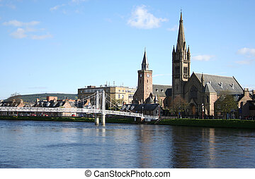 Inverness in the spring with the river Ness lined with...