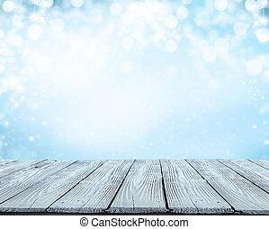 inverno, abstratos, fundo, com, pranchas madeira