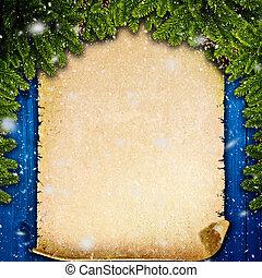 inverno, abstratos, fundos, com, vindima, pergaminho, sobre, antigas, escrivaninha madeira