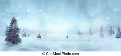 inverno, alberi nevosi