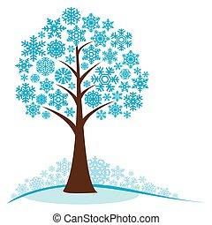 inverno albero, fiocchi neve