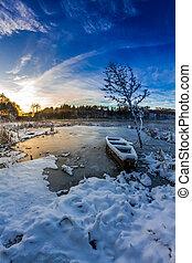 inverno, amanhecer, sobre, a, lago congelado