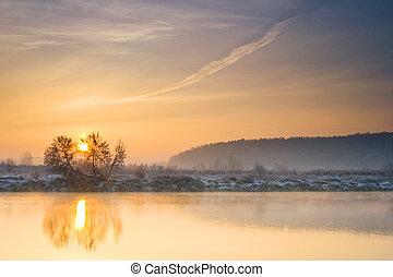 inverno, amanhecer, sobre, a, rio
