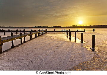 inverno, amanhecer, sobre, lago