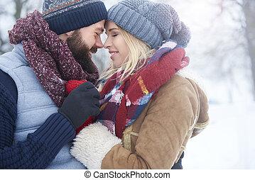 inverno, amor, de, dois, jovens