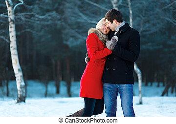 inverno, amore, coppia, tenerezza, bello, giorno