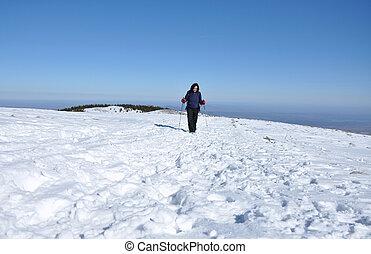 inverno, andando gita, donna, in, il, neve