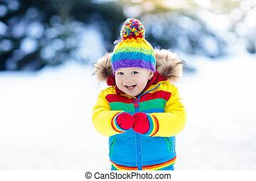 inverno, bambini, neve, bambino, fuori, gioco