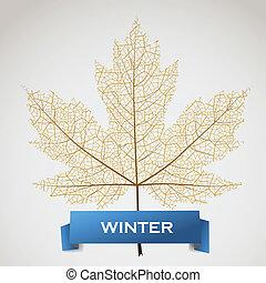 inverno, bandiera, permesso, acero