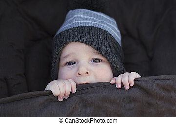 inverno, bebê, manter quente