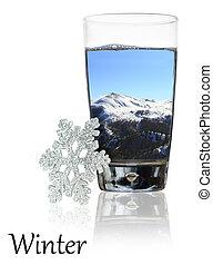inverno, beleza, em, um, vidro água