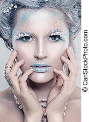 inverno, beleza, mulher, moda, model., bonito, menina, com, neve, penteado, e, makeup., feriado, partido, maquiagem, e, manicure., inverno, rainha