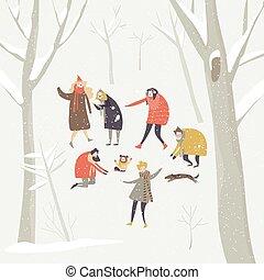 inverno, bolas neve, nevando, feliz, pessoas, floresta, grupo, tocando