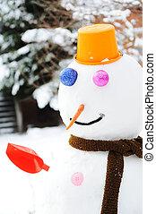 inverno, boneco neve, neve, mostrar