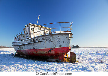 inverno, bote, chão