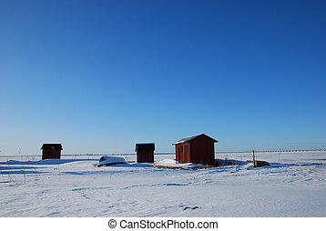 inverno, cabanas