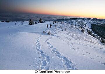 inverno, caminhada