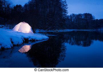 inverno, campeggio, lago