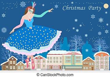 inverno, carnaval, town., dançar, traje, menina