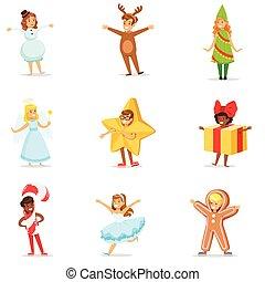 Inverno, carnaval, vestido, crianças, feriados, SÍMBOLOS, traje, Partido, Natal