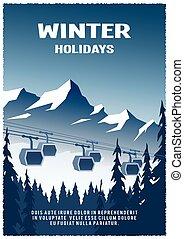 inverno, carro cabo, experiência., estrada ferro, paisagem