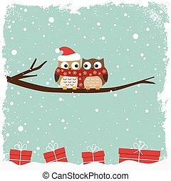 inverno, cartão, com, dois, corujas