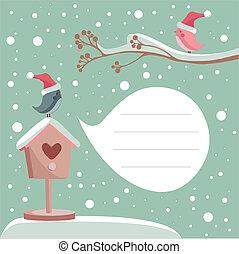 inverno, cartão, com, lugar, para, seu, texto