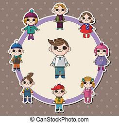 inverno, cartão, crianças