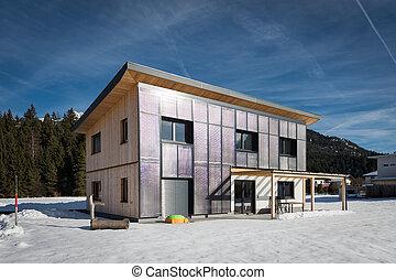 inverno, casa, self-sustaining, solar, sol, frente, painéis