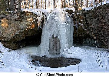 inverno, cascata