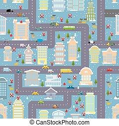 inverno, cidade, seamless, pattern., natal, em, city., mapa, bens imóveis, e, transport., arranha-céus, e, pessoas., papai noel, traz, presentes., vida cidade, em, novo, year., duende, e, natal, árvore., rena, e, snowman., cute, urbano, textura, para, bebê, tissue.