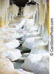 inverno, cima, gelo, scenery., polos, formações, icicles,...