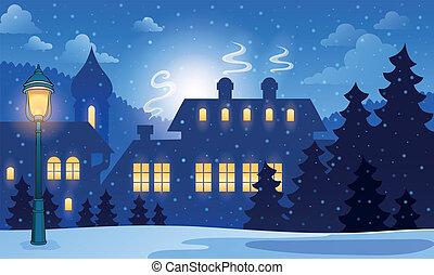 inverno, città, fondo, 1