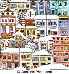 inverno, città, modello
